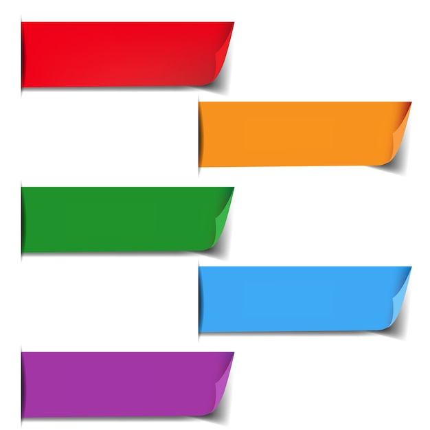 Etiquetas coloridas definidas com fundo branco Vetor Premium
