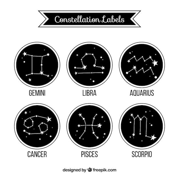 Etiquetas constelação de zodíaco Vetor grátis
