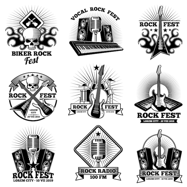 Etiquetas de banda de rock n roll retrô. grunge rocks etiquetas de festa de festa Vetor Premium