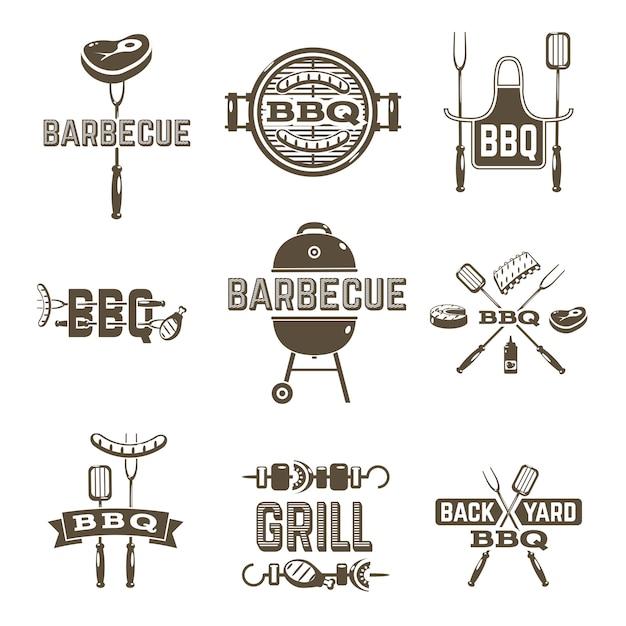 Etiquetas de churrasco e grelhados Vetor grátis