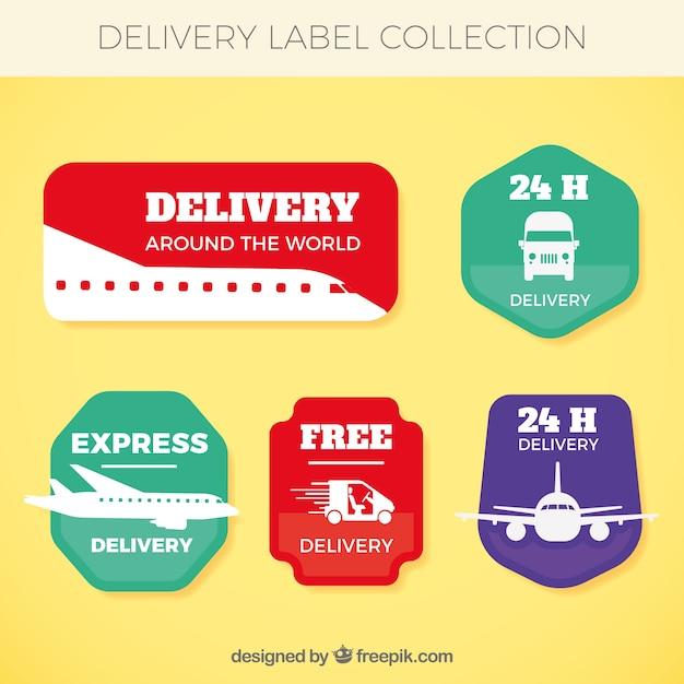 Etiquetas de entrega com transportes Vetor grátis