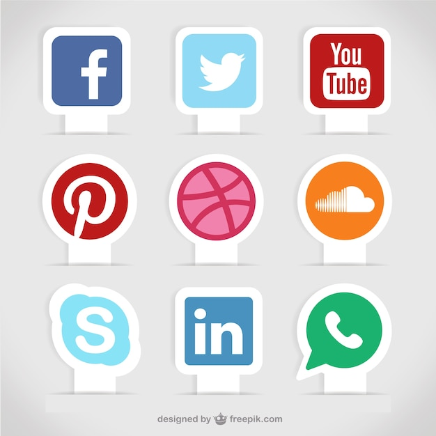 Etiquetas de mídia social Vetor Premium