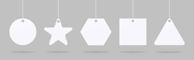 Etiquetas de preço realistas ou etiquetas de presente. conjunto de maquete de etiqueta de preço de papel em branco. vetor de maquete isolado. modelo de design. realista. Vetor Premium