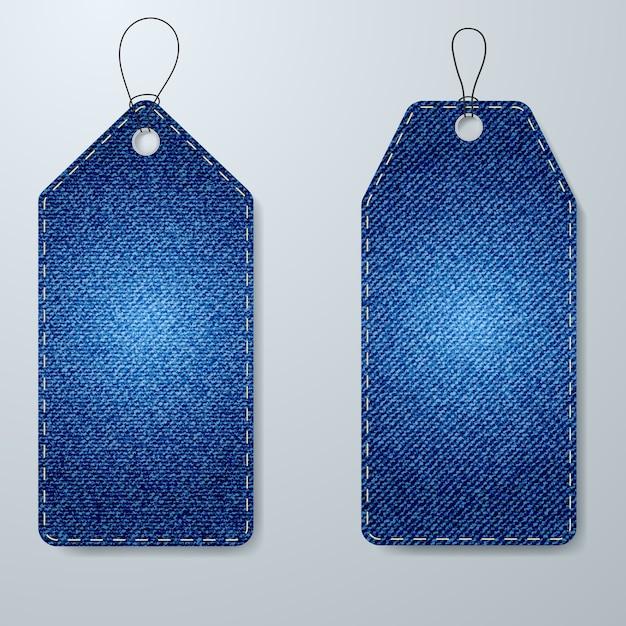 Etiquetas de preço textura de tecido denim Vetor Premium