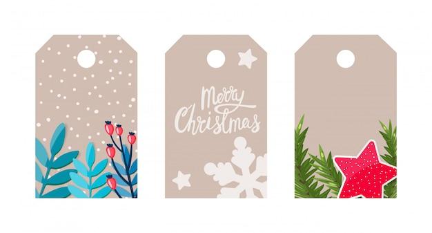 Etiquetas de presente com decoração de natal, flocos de neve, ramo de abeto, estrelas, letras. Vetor Premium