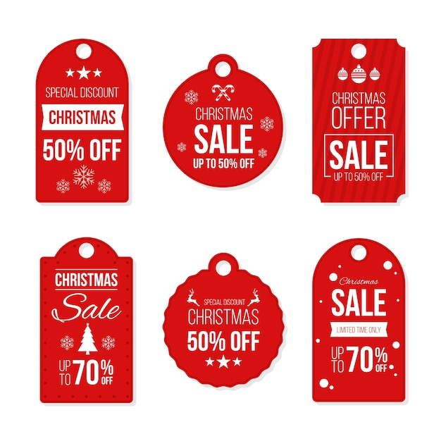 Etiquetas de presente de natal prontas para usar em design plano Vetor grátis