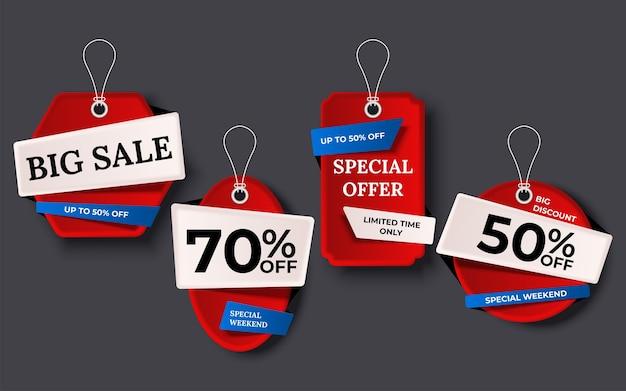 Etiquetas de venda banner conjunto de tags de fundo de coleção Vetor grátis