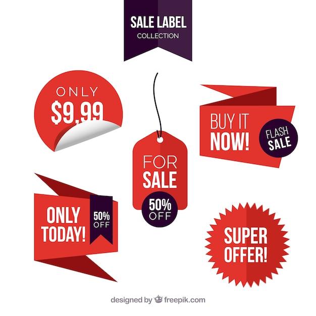 Etiquetas de venda com design plano Vetor grátis
