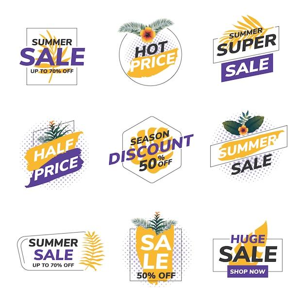 Etiquetas de venda de verão origami Vetor Premium