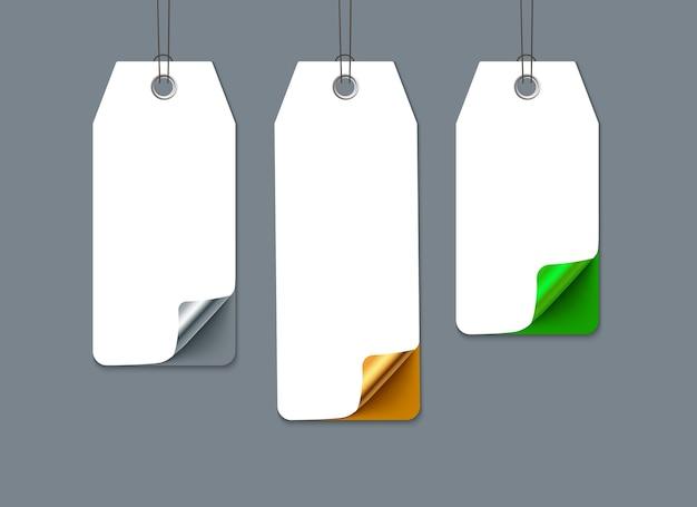 Etiquetas de venda numeradas com canto ondulado. papel realista. modelo para promoção Vetor Premium