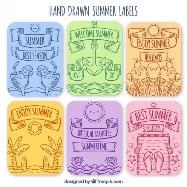 Etiquetas de verão desenhados mão embalar Vetor grátis