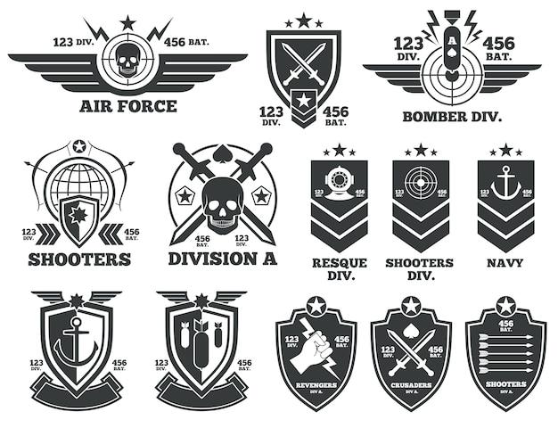 Etiquetas de vetor militar vintage e patches. emblema e distintivo ... 7e4e4794a16
