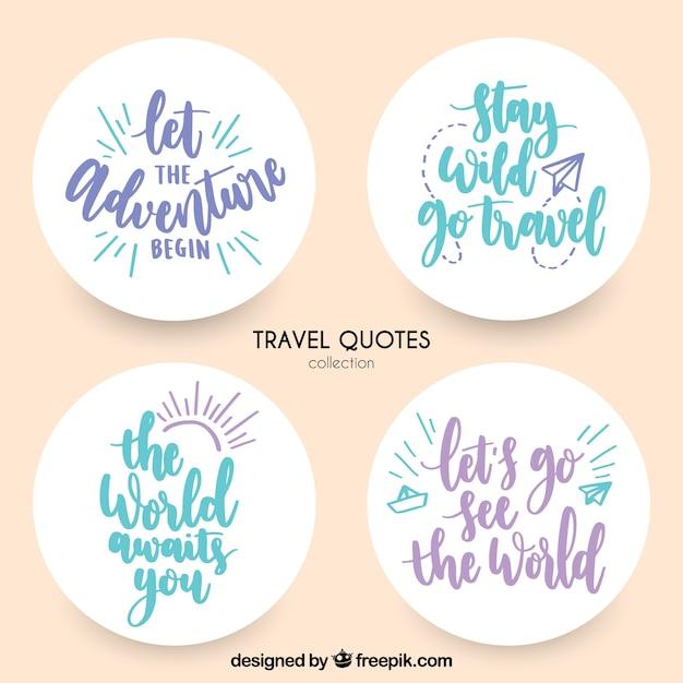 Etiquetas decorativas com mensagens de viagem Vetor grátis