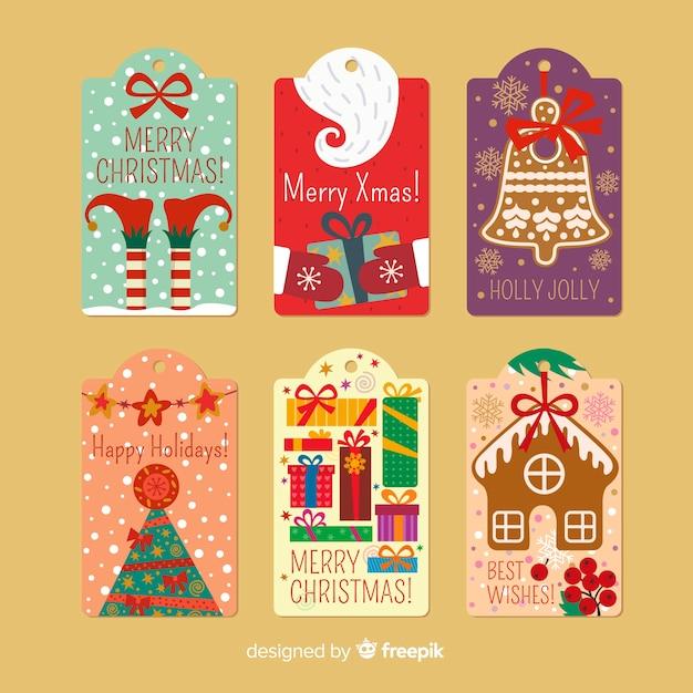 Etiquetas decorativas de natal Vetor grátis