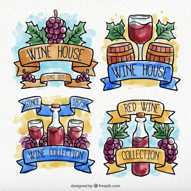 Etiquetas decorativas do vinho no estilo do watercolour Vetor grátis