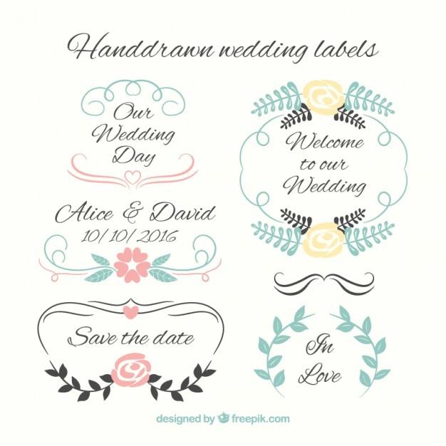 Etiquetas do casamento jogo desenhado mão Vetor grátis