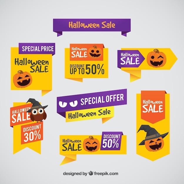 Etiquetas do dia das bruxas com preços especiais Vetor grátis