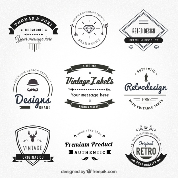 Etiquetas do vintage no estilo hispter Vetor Premium