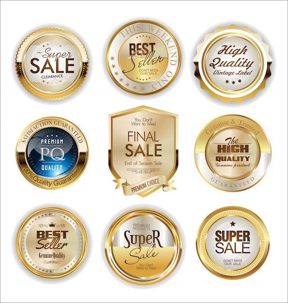 Etiquetas e crachá dourado Vetor Premium