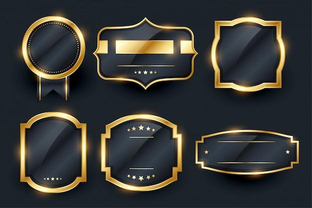 Etiquetas e emblema dourado de luxo cenografia Vetor grátis