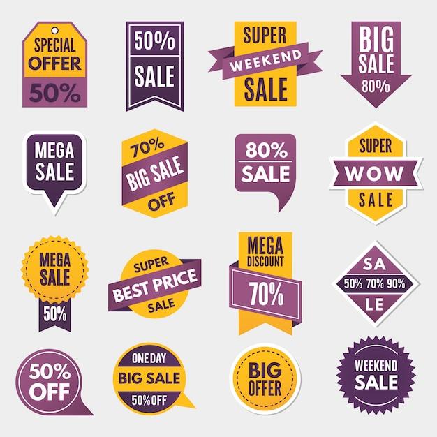 Etiquetas e etiquetas com informação publicitária para promoção e grandes vendas Vetor Premium