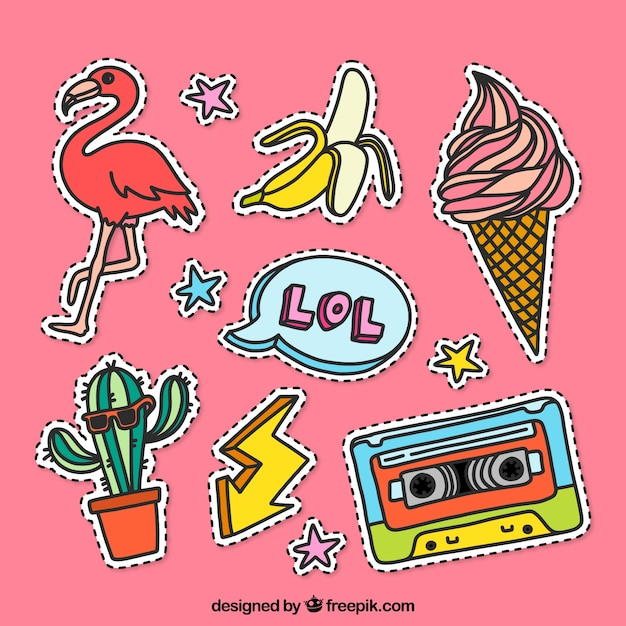 Etiquetas engraçadas com estilo colorido Vetor grátis