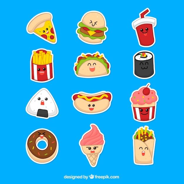 Etiquetas engraçadas de comida moderna Vetor grátis