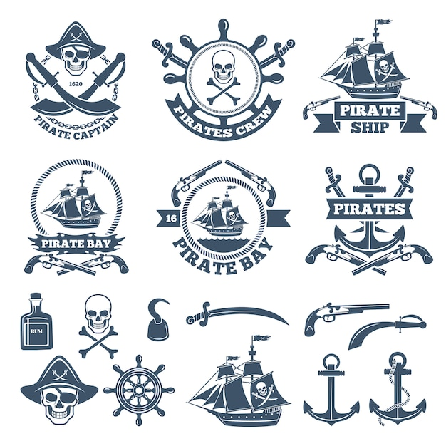 Etiquetas náuticas e dos piratas do vintage. logotipos monocromáticos de mar e vela Vetor Premium