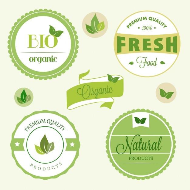 Etiquetas orgânicas Vetor grátis