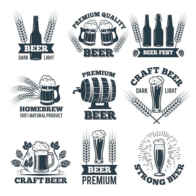Etiquetas ou emblemas conjunto de cerveja. Vetor Premium