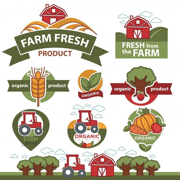 Etiquetas para produtos do mercado agrícola. Vetor Premium
