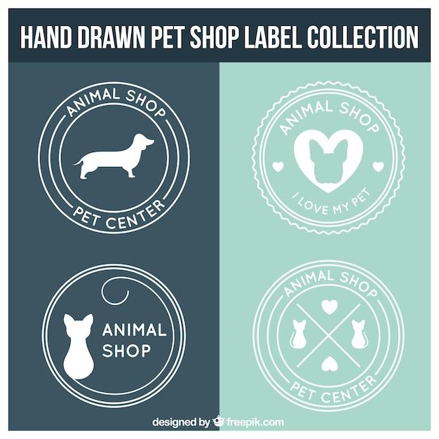 Etiquetas pet shop redondos Vetor grátis