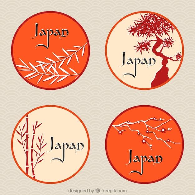 Etiquetas redondas japoneses com temas florais Vetor grátis