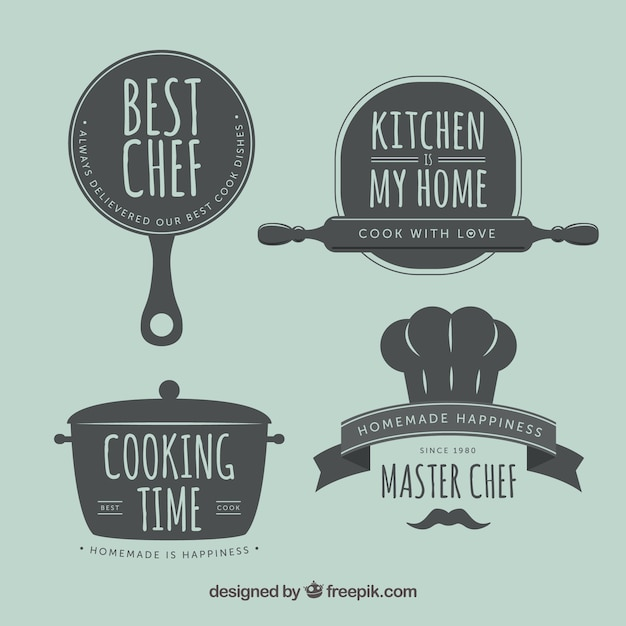 Etiquetas retros da cozinha Vetor grátis