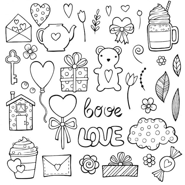 Etiquetas românticas bonitos ajustadas para o namorando do dia de são valentim. conjunto de itens de namoro. Vetor Premium