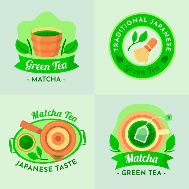 Etiquetas tradicionais do chá verde japanesse matcha Vetor grátis