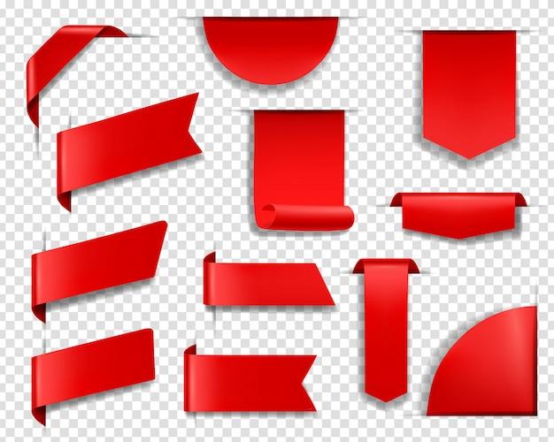 Etiquetas vermelhas, etiquetas e banners. conjunto Vetor Premium