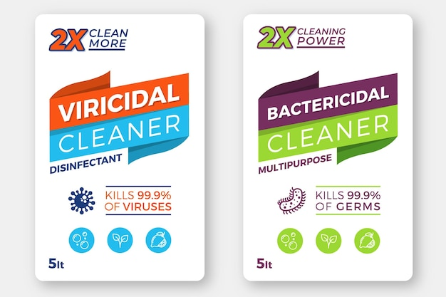 Etiquetas viricidas e bactericidas para produtos de limpeza Vetor Premium