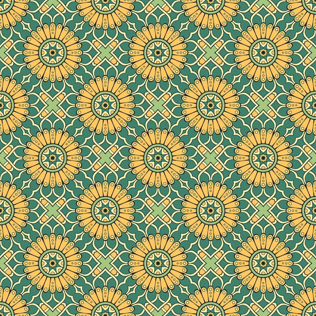 Étnica floral padrão sem emenda com mandalas Vetor grátis