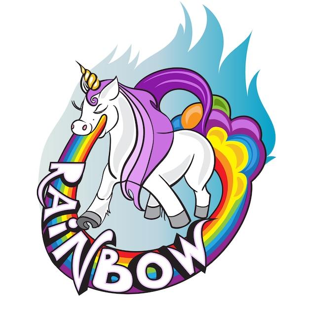 Eu acredito em unicórnios, cavalo com chifre beber chá e lettering Vetor Premium
