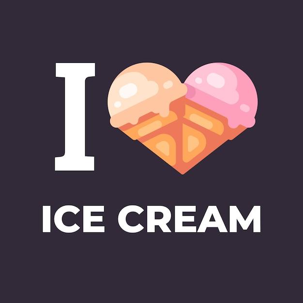 Eu amo a ilustração de sorvete. Vetor Premium