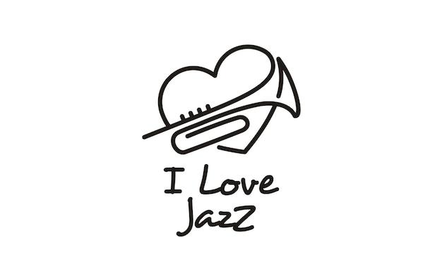 Eu amo a inspiração de design de logotipo de jazz de música Vetor Premium