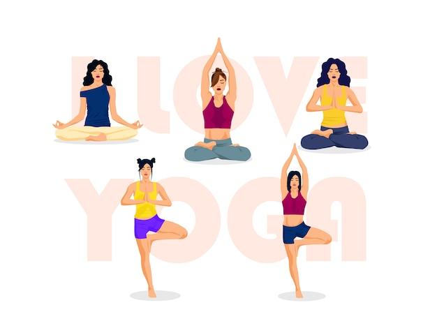 Eu amo a ioga, ilustração de poses Vetor Premium