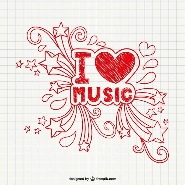 Eu amo a música vector Vetor grátis