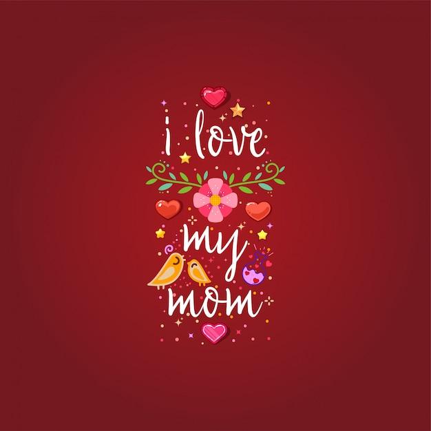 Eu amo minha mãe Vetor Premium