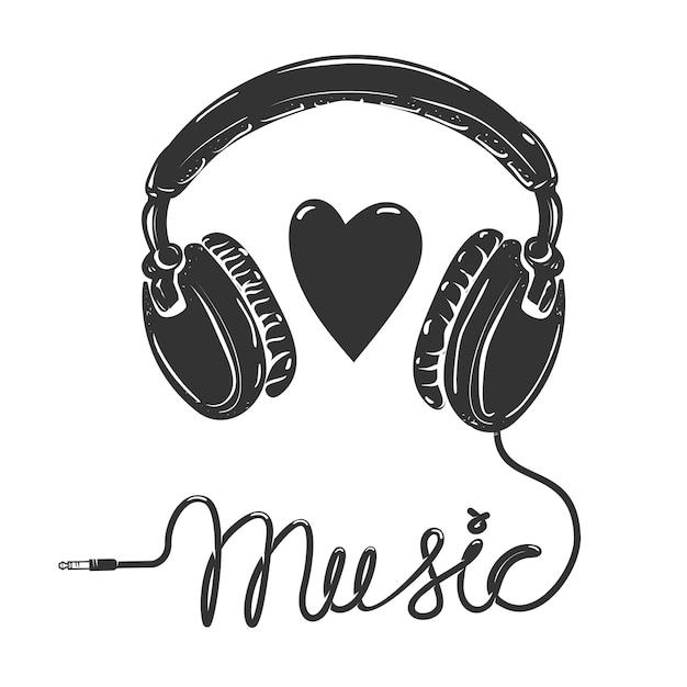 Eu amo música. fones de ouvido com texto em fundo branco. elemento para cartaz, camiseta. Vetor Premium