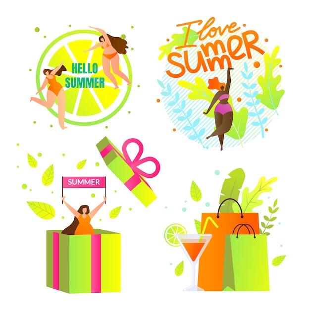 Eu amo o conjunto de ícones de verão com letras. horário de verão Vetor Premium