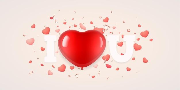 Eu amo você letras com balão em forma de coração para o dia dos namorados Vetor Premium