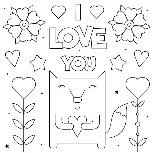 Eu amo você. página para colorir. preto e branco Vetor Premium