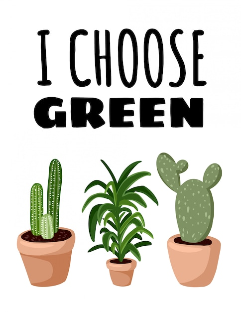 Eu escolho verde. plantas suculentas em vasos. cartaz escandinavo acolhedor do estilo do lagom Vetor Premium
